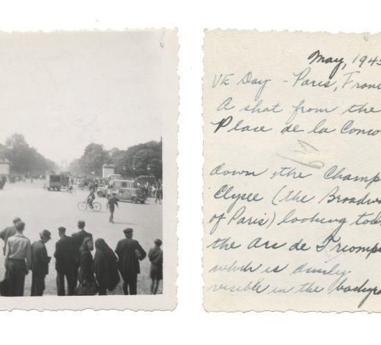 Photo taken on VE Day in Paris; shows Arc de Triomphe in distance