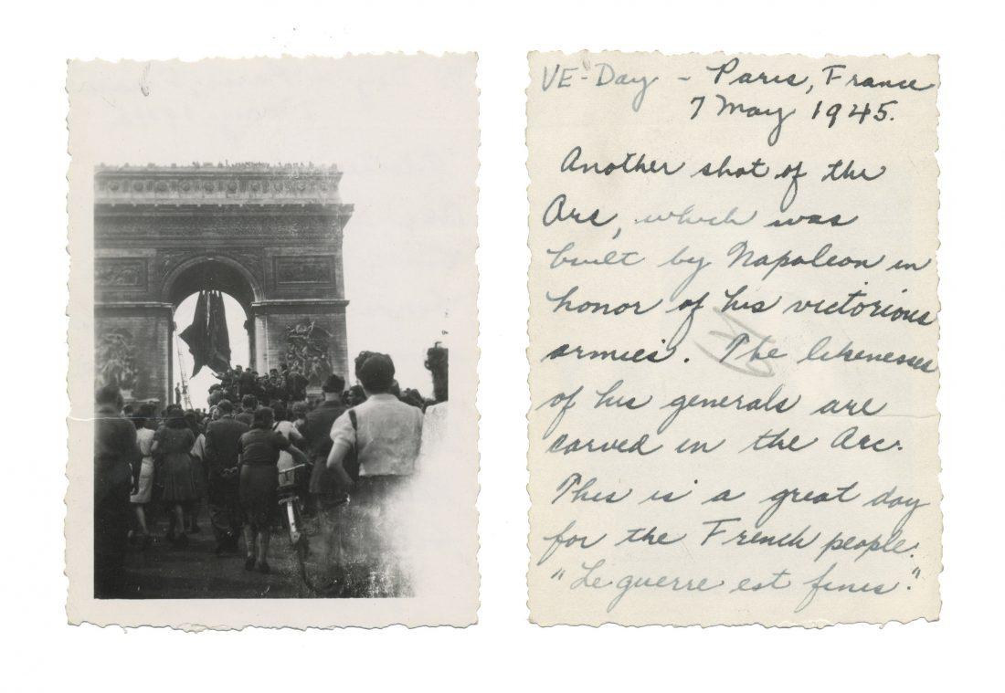 Photo taken on VE Day in Paris; shows Arc de Triomphe