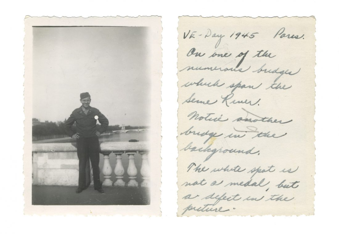 Photo taken on VE Day in Paris; shows US intelligence officer Lewis J. Nescott