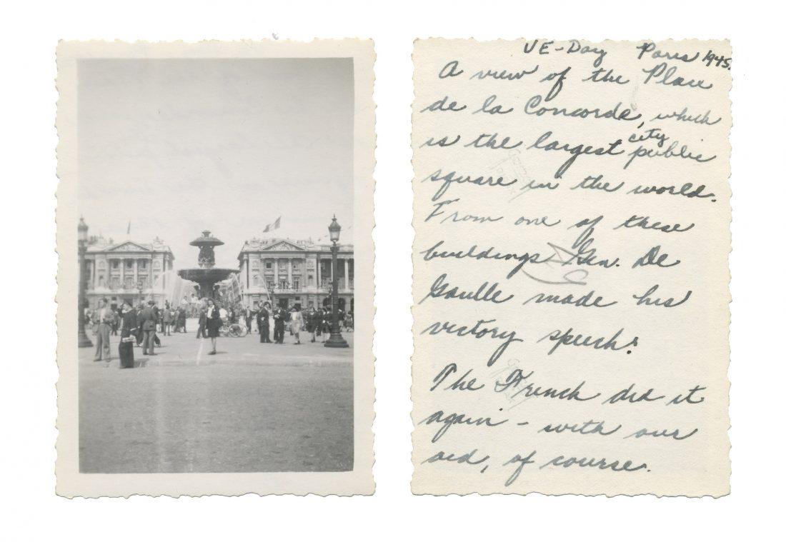 Photo taken on VE Day in Paris; shows Place de la Concorde
