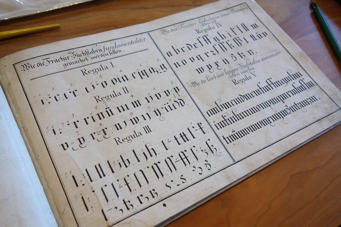 Book showing ductus detail of Fractur; Letterform Archive, San Francisco
