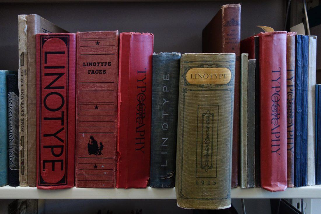 Shelves filled with Linotype specimen books; Letterform Archive, San Francisco