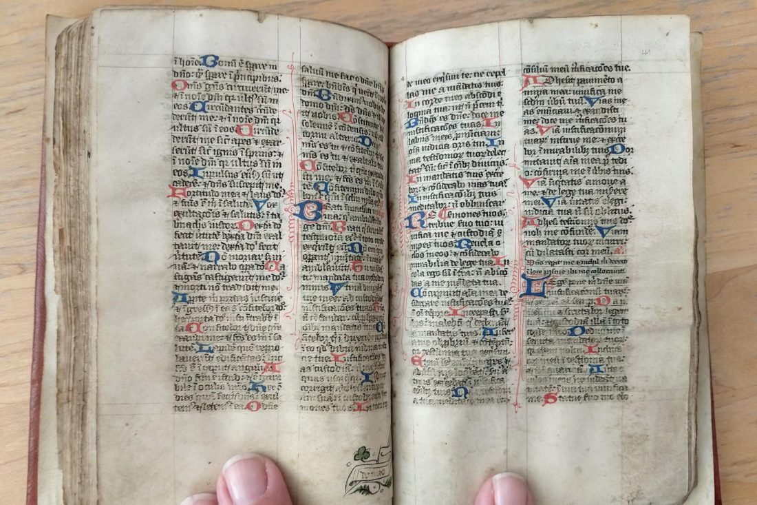 Close up photo of hand lettered page, circa 1390; Letterform Archive, San Francisco