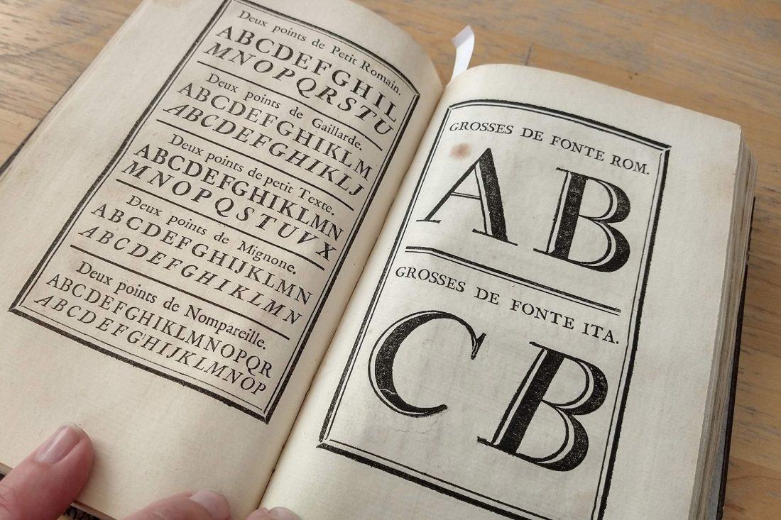 Close up photo of type specimen page; Letterform Archive, San Francisco