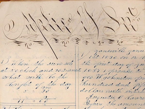"Detail of ornate handwritten word ""Splice Of Int. (Interest?)"" from 1859 math workbook of William D. Linebaugh"