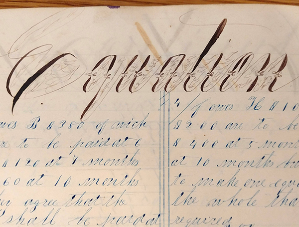 "Detail of ornate handwritten word ""Equation"" from 1859 math workbook of William D. Linebaugh"